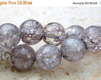 CLEARANCE 8mm Ice Crystal Quartz Round Beads in Grey -16 inch strand
