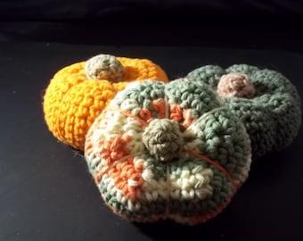 Colored Gourds/Pumpkins –Set of 3 -  Crochet – 100% Cotton - Orange/Multi/Green