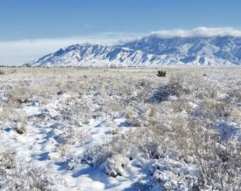 Mountain Desert Field Photography Print 11x14 Fine Art New Mexico Sandia Mountains Southwest Snow Winter Landscape Photography Print.