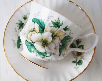 Bluebird Tea Cup and Saucer, Dogwood Blossoms
