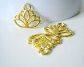 10 Gold Plated Lotus Flower Charms