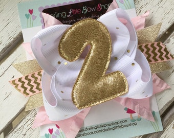 Second Birthday Bow - Pink and Gold 2nd Birthday Bow - Glittery Gold bow with shimmering 2, EXCLUSIVE to Darling Little Bow Shop