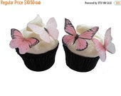 SALE Cake Cupcake Toppers EDIBLE BUTTERFLIES Cupcake Toppers - 24 Light Pink Edible Butterflies - Blush Pink Cake Decorations