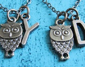 best friend necklace for 2, personalized friendship gift, best friend gift, best friend birthday gift, bff necklace, small owl necklace