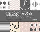 Astrology Pattern Digital Papers, Pastel, Gray, Black, Small commercial Use, Abstract Scrapbook Digital Papers, Digital Background, 121