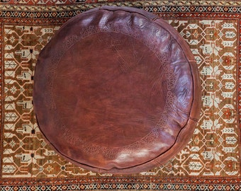 Antique Revival Leather Moroccan Pouf Ottoman - Dark Whiskey