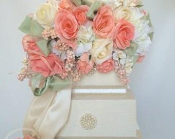 Wedding Money Box Coral Mint Tier Wedding Card Box With Slot Secured Lock Wedding Card Box Wedding Card Box, Off White Wedding Card Box