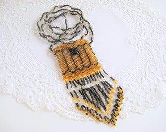 Beaded Purse Necklace Amulet or Medicine Bag