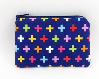SALE - Coin Purse, Small Zipper Pouch, Mini Wallet, Card Pouch, Gift idea, Padded - Remix Cross in Blue