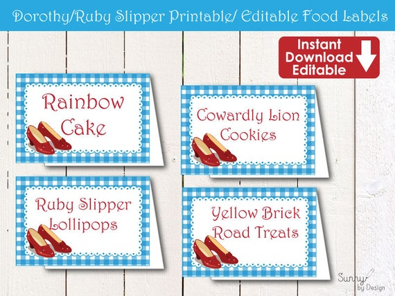 Dorothy/ Ruby slipper Instant download/ Editable Printable Tent food labels