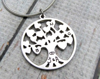 Personalized Family Tree Necklace - Handstamped Necklace - Personalized Mom Necklace - Personalized Grandma Necklace - Personalized Jewelry