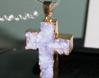Lavender Druzy Agate gemstone Cross pendant with gold electroplate frame -40 x 22 mm- (1 piece)-cs3108