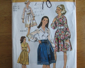 simplicity Pattern 9152 Misses' Dress and Sash    1970