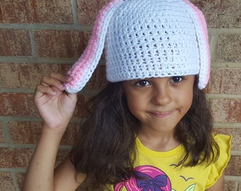 White Bunny Rabbit Crochet Hat Baby Girl or Baby Boy Photography Prop Costume All Sizes  from Preemie to Adult
