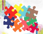 Scrapbooking/ Autism Awareness - 30 Giant Puzzle Pieces - Medium - Solid Color Card Stock