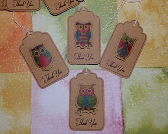 Kraft Thank You Tags - 3D Owls - Thank You Tags with Strings - 12 pcs