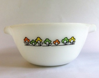 Vintage Large Fire King Mixing Bowl - Summerfield pattern, Orange Yellow Green Flowers, 3 1/2 quart, Anchor Hocking, Tab Handles, Nesting