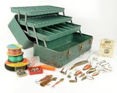 tackle box, 3 tier, steel, Industrial,  green, Falls City, My Buddy, storage, planter, tackle items, vintage fishing,