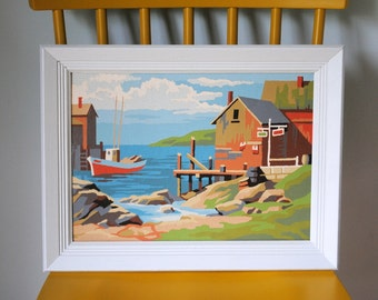 Vintage Boat Dock Harbor Mid Century Paint By Number Framed Art in Unique Wood Stained Frame