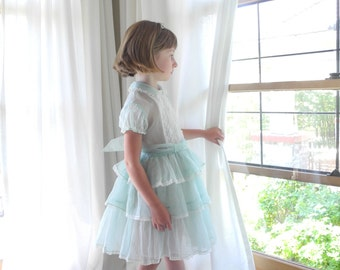 Vintage Baby Clothes, 1950's Mint Green and Ivory Chiffon Baby Girl Dress, Vintage Girl's Dress, 1950s Girl's Dress, Size 4T-5T