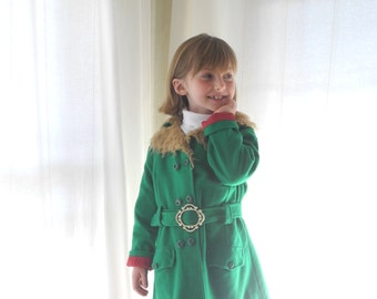 Vintage Baby Clothes, 1960's Kelly Green and Tan Wool Girls Coat, Green Wool Girls Coat, Green Winter Coat, Vintage Girls Coat, Size 6 - 6X
