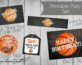 Basketball Printable Party Set - Favor Tags, Party Sign, Thank You Cards, Water Labels, Stickers - Instant Download - Basketball Team Gift