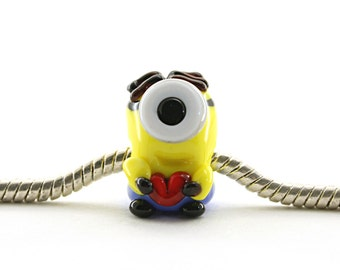 Minion Glass charm bead lampwork big hole bead or BHB bead , charm bracelet ,for european bracelet Despicable me Bead / miniature / figurine