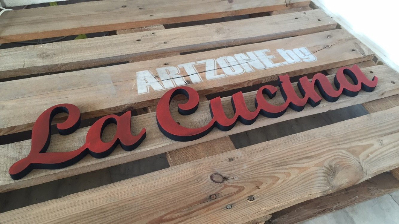 Kitchen Cabinet Sign La Cucina Freestanding Wooden By Svetulka