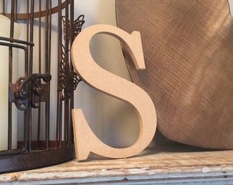 wooden letters, wall letter, not free-standing, unpainted, Roman font, letter s,  15cm - READY TO SHIP
