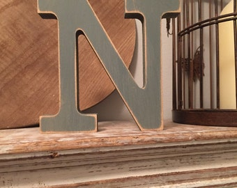 Freestanding Wooden Letter 'N'  - Rockwell Style Font