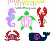 Sea Turtle Monogram Decal, Lobster Monogram Decal, Crab Monogram Decal, Seahorse Monogram Decal, Whale Monogram Decal