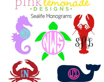 Sea Turtle Monogram Decal, Lobster Monogram Decal, Crab Monogram Decal, Seahorse Monogram Decal, Whale Monogram Decal
