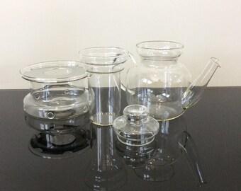 Jenaer Schott Mainz Germany Glass Teapot with Glass Lidded Diffuser and Warmer