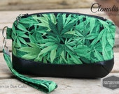 Clematis Clutch with wrist strap, key fob, in weed, the herb, mary jane, alternative