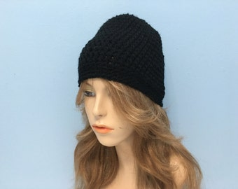 SALE Crochet Beanie Unisex hat - BLACK