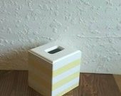 Yellow and White Tissue Box Cover - Striped Tissue Holder - Striped box - Yellow Tissue Holder - White Tissue Holder - Striped Holder