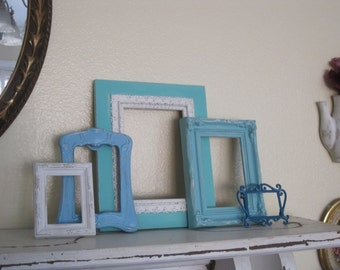 Coastal Cottage Collection - 5 Piece Picture Frame Gallery - Easel Backed - Eclectic Picture Frames