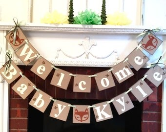 Woodland Baby shower Decoration - Little Fox baby shower decor - Forest themed baby shower banner - Welcome baby banner- your color choice