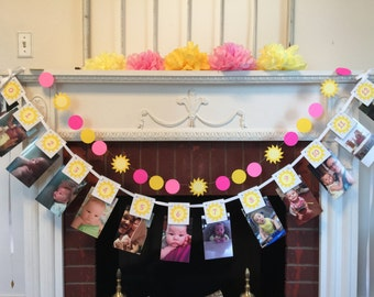You are my Sunshine 12 month  BIRTHDAY photo banner , baby's 1st birthday decor, photo banner Decorations , Sunshine One Banner- One banner