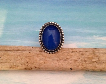 Blue agate sterling silver ring