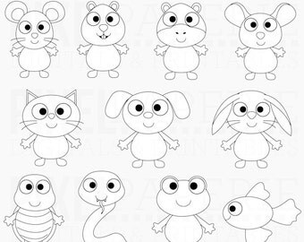 pets clipart stamps clip art - Pet Friends Digital Stamps