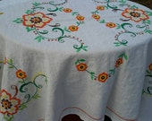 Tablecloth Linen Cut Work Edge Autumn Colors Fine Embroidery Bold Organic Cloth 56 x 42 Lunch Or Occasional Size Vintage Art Textile