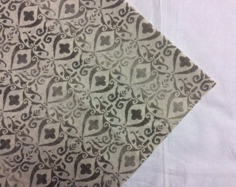 One yard indian Cotton fabric in white with a grey shaded pattern