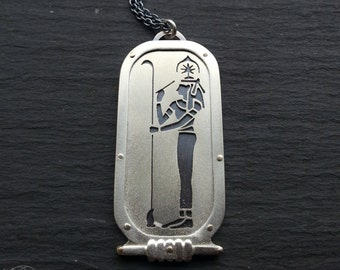 Egyptian Seshat Pendant - handcut sterling silver and 9ct gold.