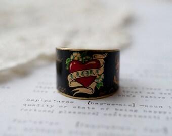 Brass Wide Tattoo Mom Print Ring