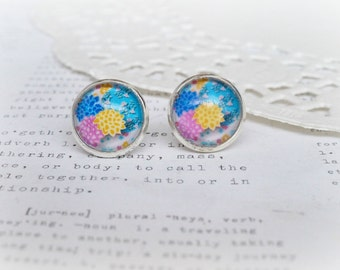 Round Glass Blue, Magenta & Yellow Dahlia Earrings