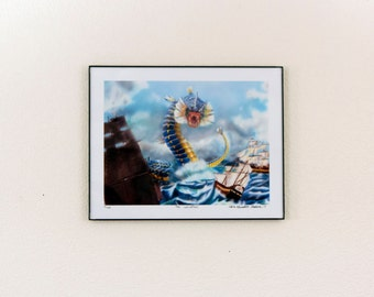 Pokemon Gyrados destroying Classical Ships - The Leviathan - Giclee Print