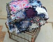 SALE 52 X 52 Cotton Rag Quilt, Lap Quilt, Toddler Quilt