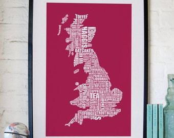 British Gastronomy map print - Red