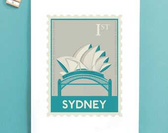 Sydney Stamp print - Housewarming gift - Opera House